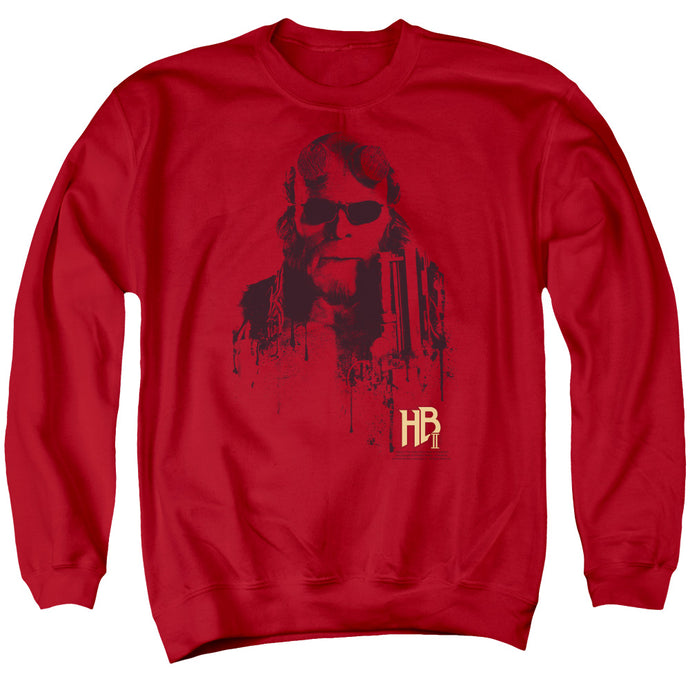 Hellboy II Splatter Gun Mens Crewneck Sweatshirt Red