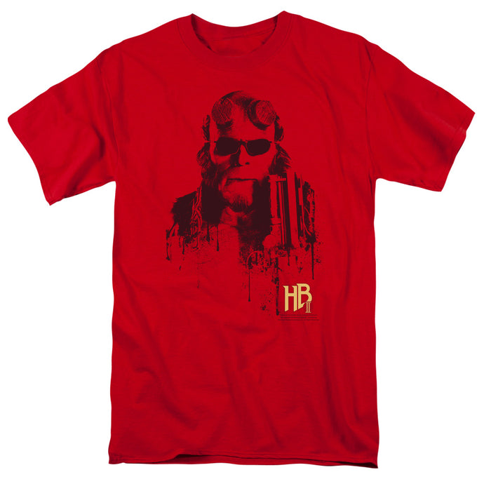 Hellboy II Splatter Gun Mens T Shirt Red