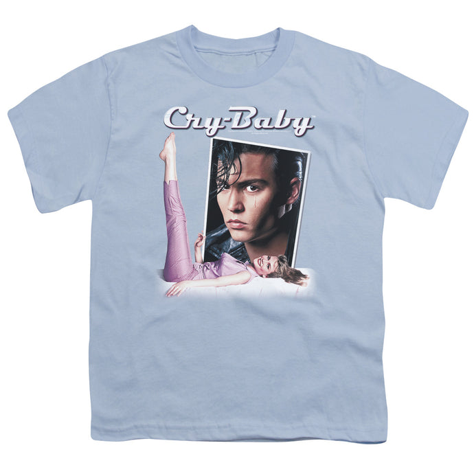 Cry Baby Title Kids Youth T Shirt Light Blue