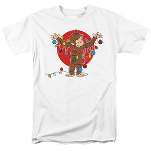 Curious George Lights Mens T Shirt White