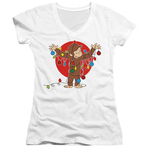 Curious George Lights Junior Sheer Cap Sleeve V-Neck Womens T Shirt White