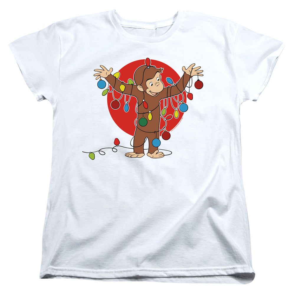 Curious George Lights Womens T Shirt White