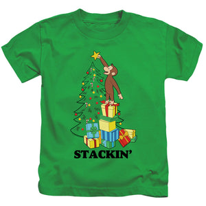 Curious George Stackin Juvenile Kids Youth T Shirt Kelly Green