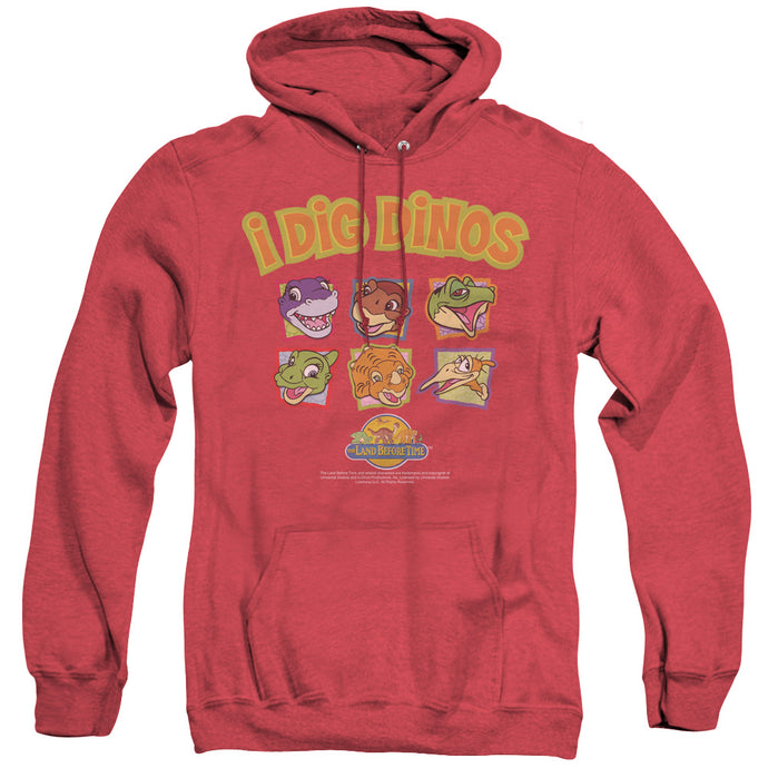 The Land Before Time I Dig Dinos Heather Mens Hoodie Red