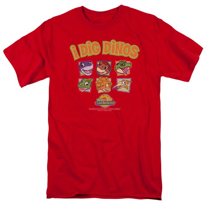 The Land Before Time I Dig Dinos Mens T Shirt Red