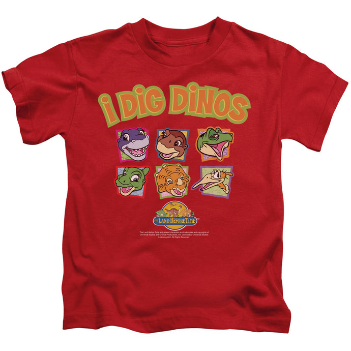 The Land Before Time I Dig Dinos Juvenile Kids Youth T Shirt Red