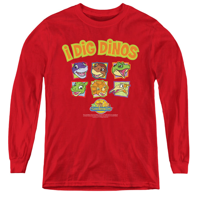 The Land Before Time I Dig Dinos Long Sleeve Kids Youth T Shirt Red