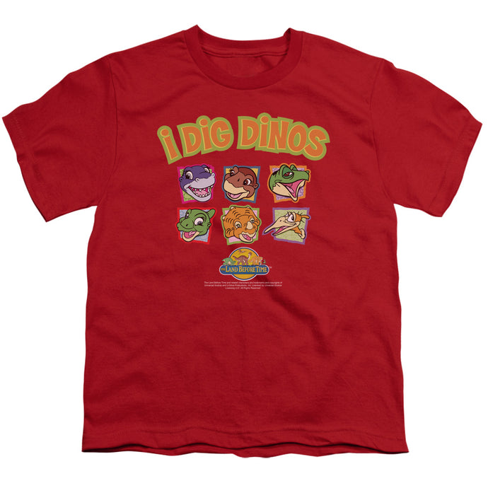 The Land Before Time I Dig Dinos Kids Youth T Shirt Red