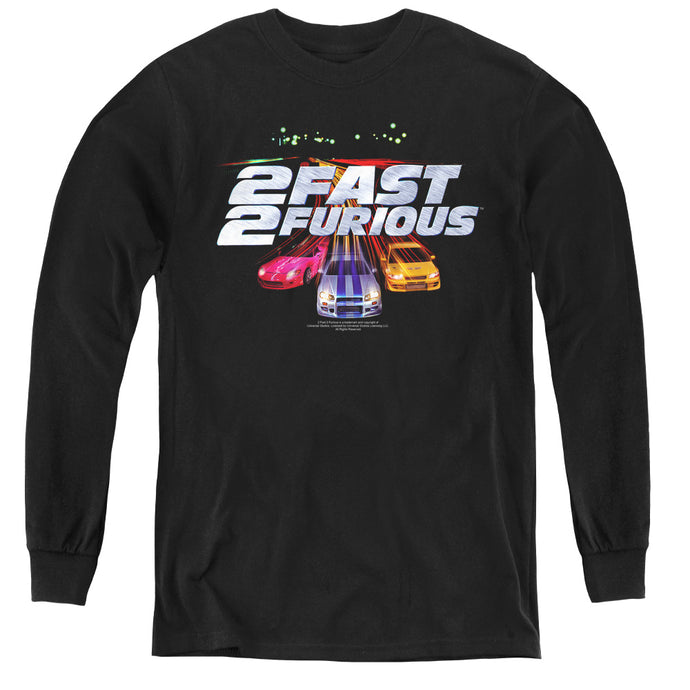 2 Fast 2 Furious Logo Long Sleeve Kids Youth T Shirt Black