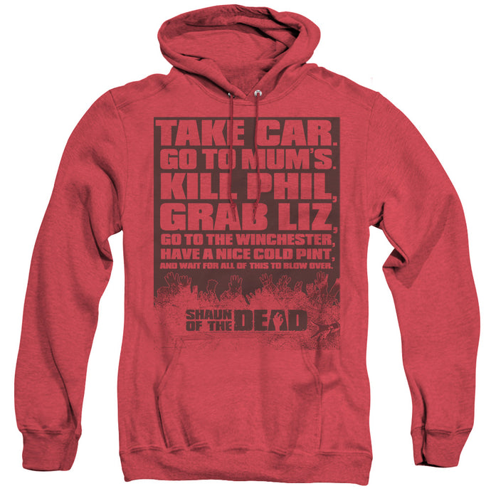 Shaun Of The Dead List Heather Mens Hoodie Red