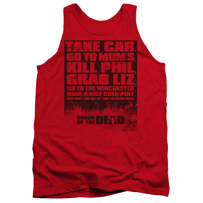 Shaun Of The Dead List Mens Tank Top Shirt Red