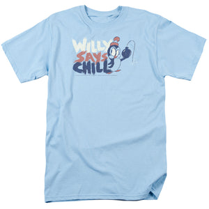 Chilly Willy I Say Chill Mens T Shirt Light Blue