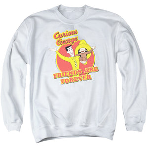 Curious George Friends Mens Crewneck Sweatshirt White