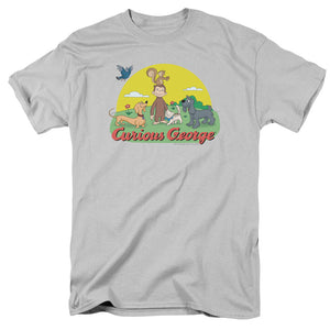 Curious George Sunny Friends Mens T Shirt Silver