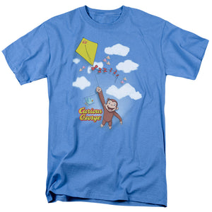 Curious George Flight Mens T Shirt Carolina Blue