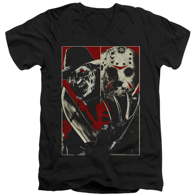 Freddy Vs Jason Vs Mens Slim Fit V-Neck T Shirt Black