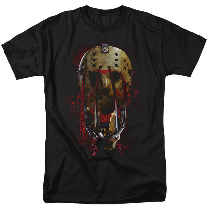 Freddy Vs Jason Mask And Claws Mens T Shirt Black