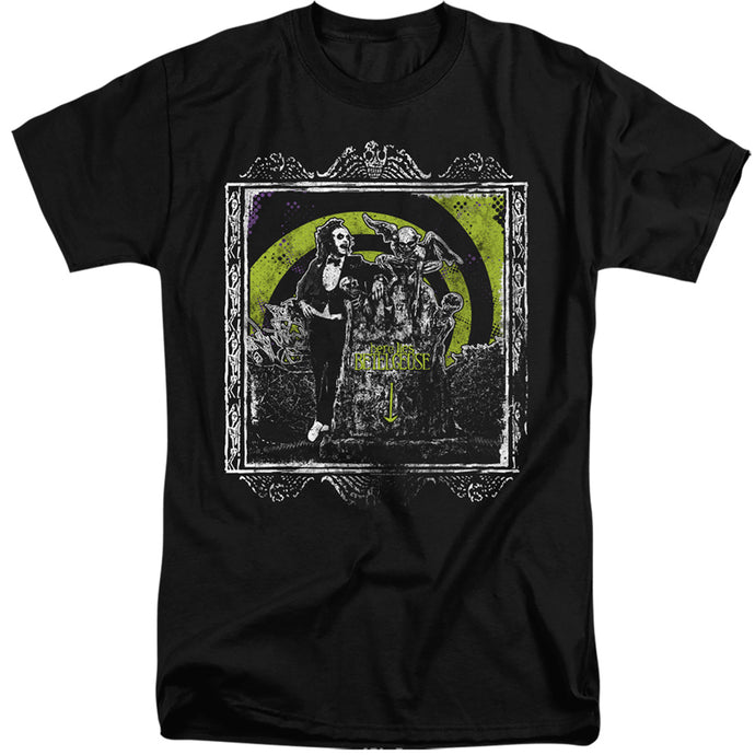 Beetlejuice Here Lies Mens Tall T Shirt Black
