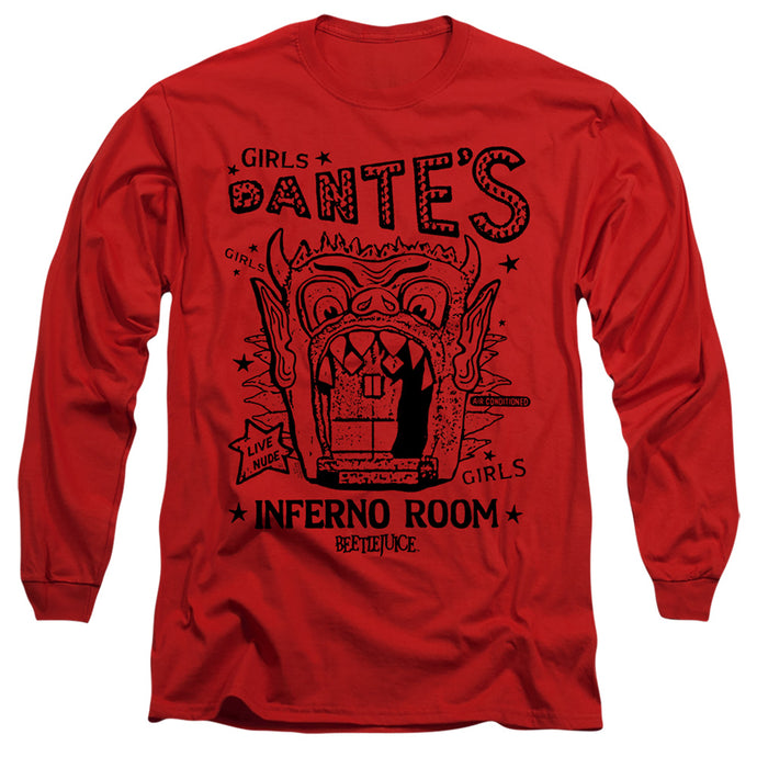 Beetlejuice Dantes Inferno Room Mens Long Sleeve Shirt Red