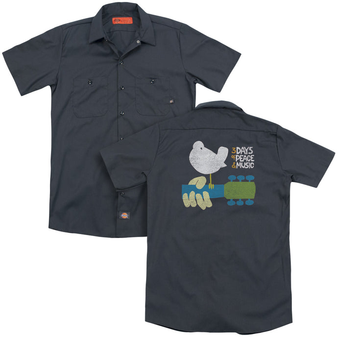 Woodstock Perched Back Print Mens Work Shirt Charcoal