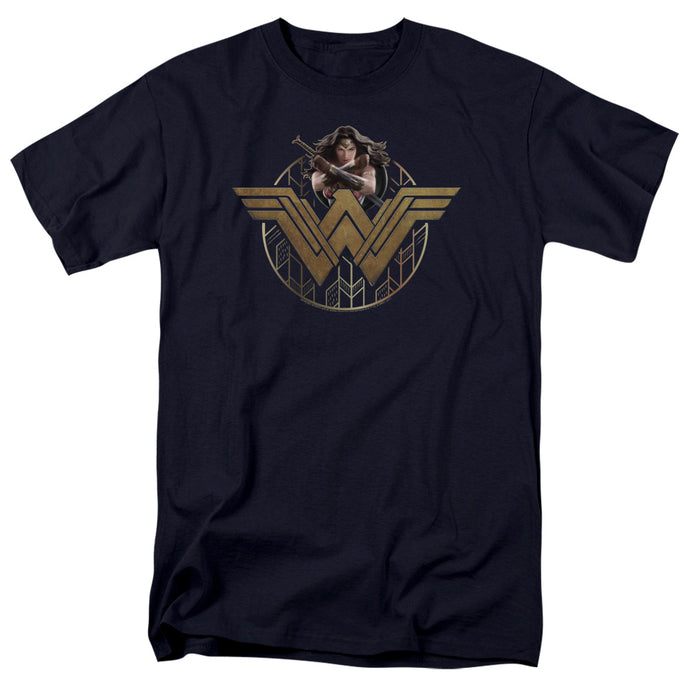 Wonder Woman Movie Power Stance And Emblem Mens T Shirt Navy Blue