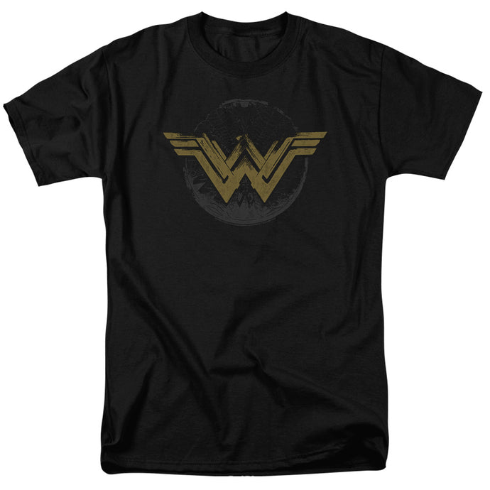Wonder Woman Movie Distressed Logo Mens T Shirt Black