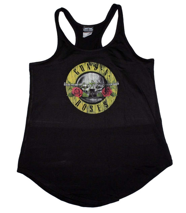 Guns n Roses Distressed Logo Womens Racerback Tank Top Shirt Black