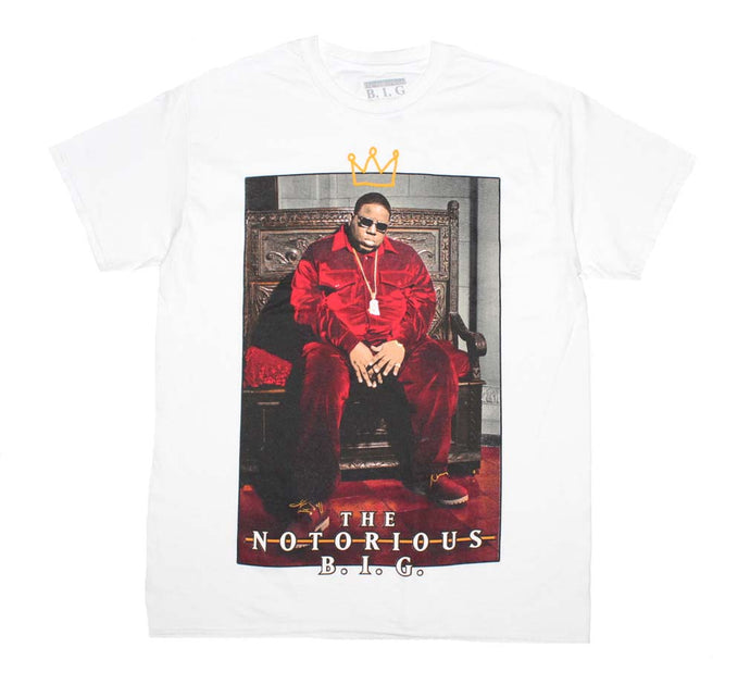 The Notorious B.I.G. Biggie Crown Throne White Mens T Shirt