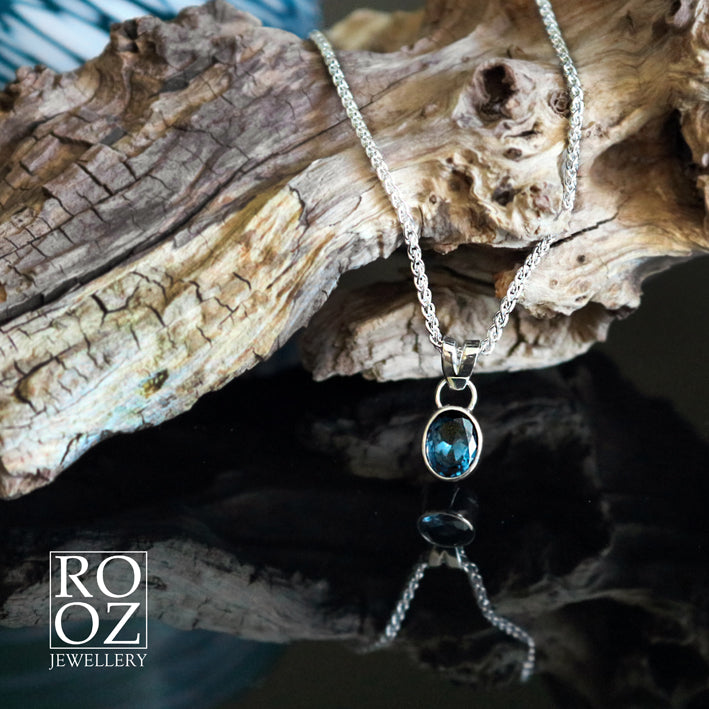Necklace with a Blue Topaz stone