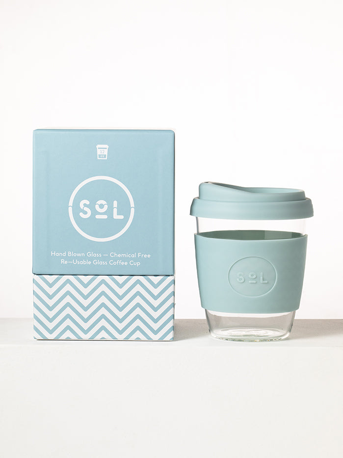 SoL Cups 12oz Reusable Glass Cup - Cool Cyan