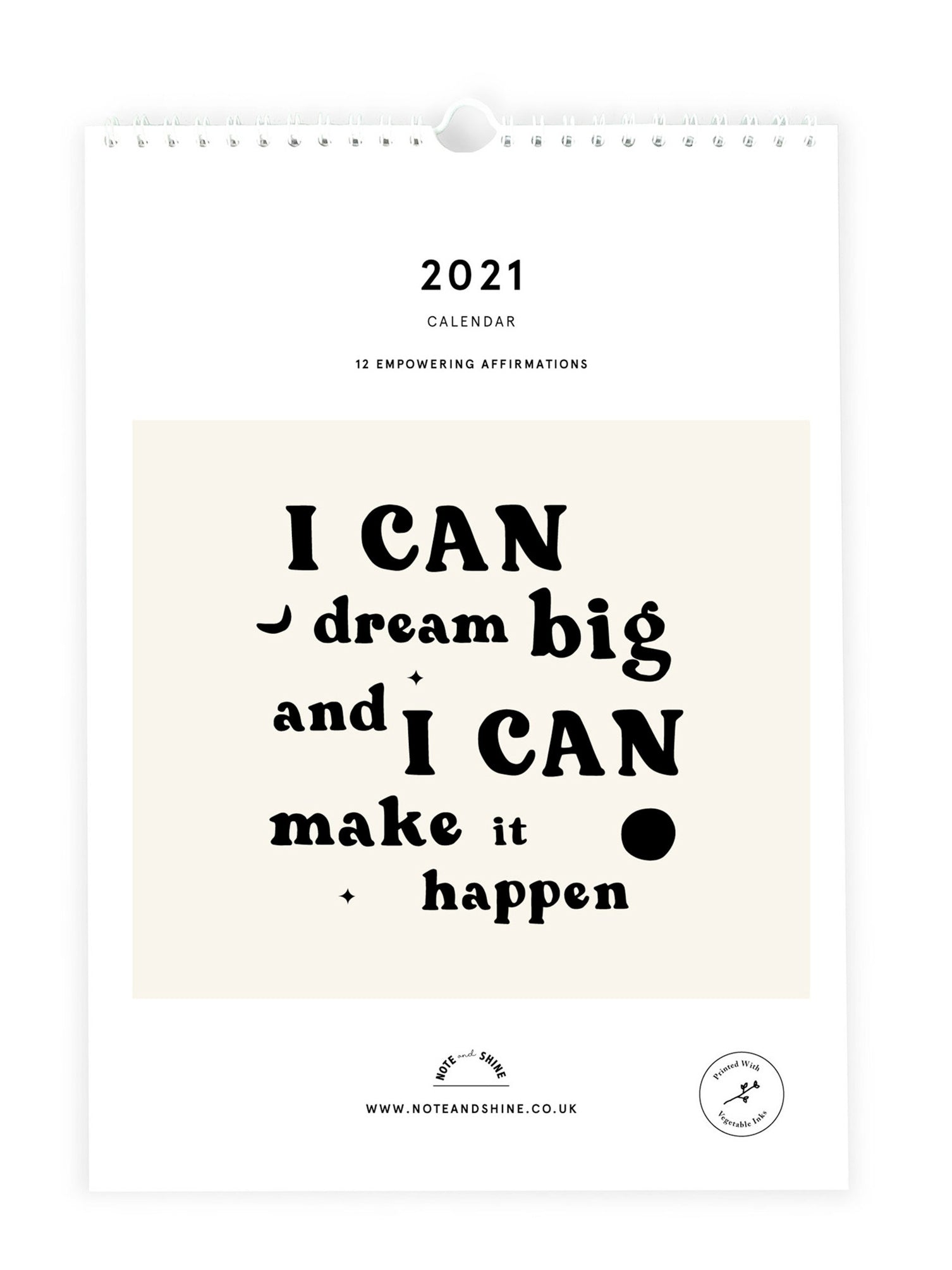 Note and Shine 2021 A4 Calendar - Affirmations