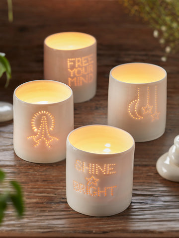 Yogamatters Handmade Porcelain Tea Light Holder - Shine Bright