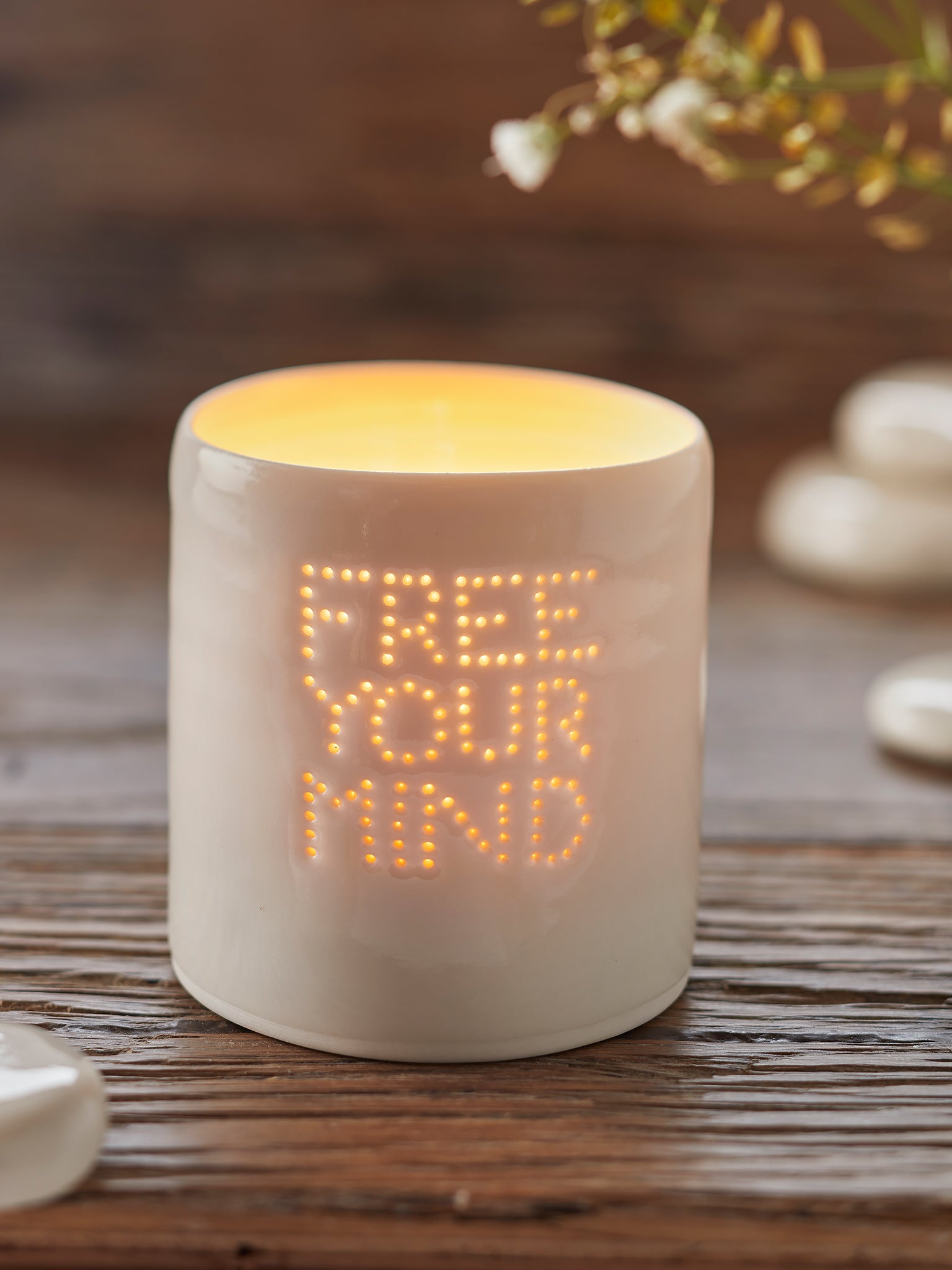 Yogamatters Handmade Porcelain Tea Light Holder - Free Your Mind