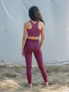 Girlfriend Collective High Rise Pocket Leggings - Plum