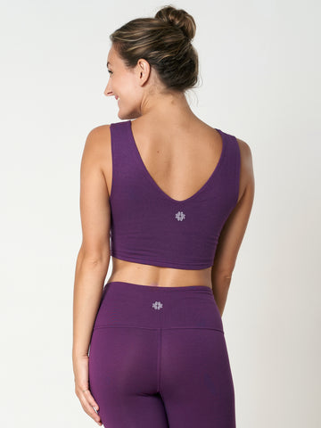 Gossypium Evolve Cropped Yoga Vest - Grape