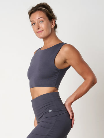 Gossypium Evolve Cropped Yoga Vest - Ash Grey