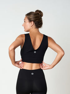 Gossypium Evolve Cropped Yoga Vest - Black