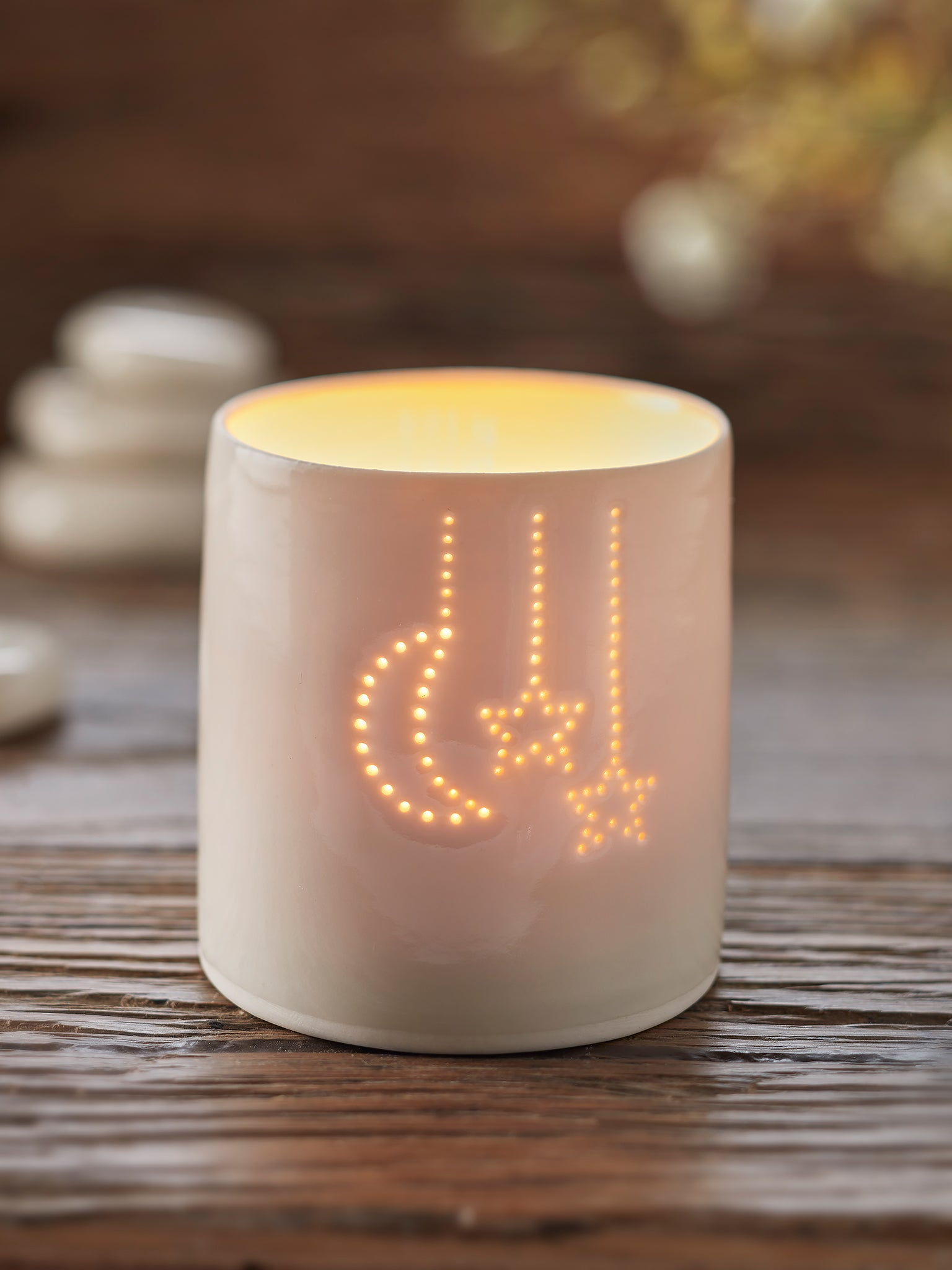 Yogamatters Handmade Porcelain Tea Light Holder - Moon + Stars