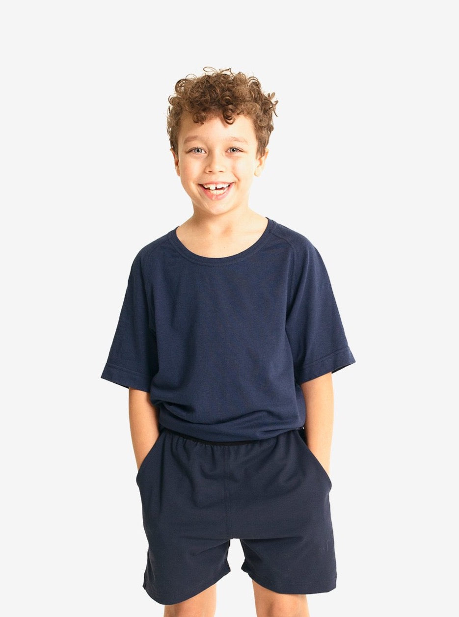 Yogamatters Boys' Eco Short Sleeve Yoga T-Shirt - Navy