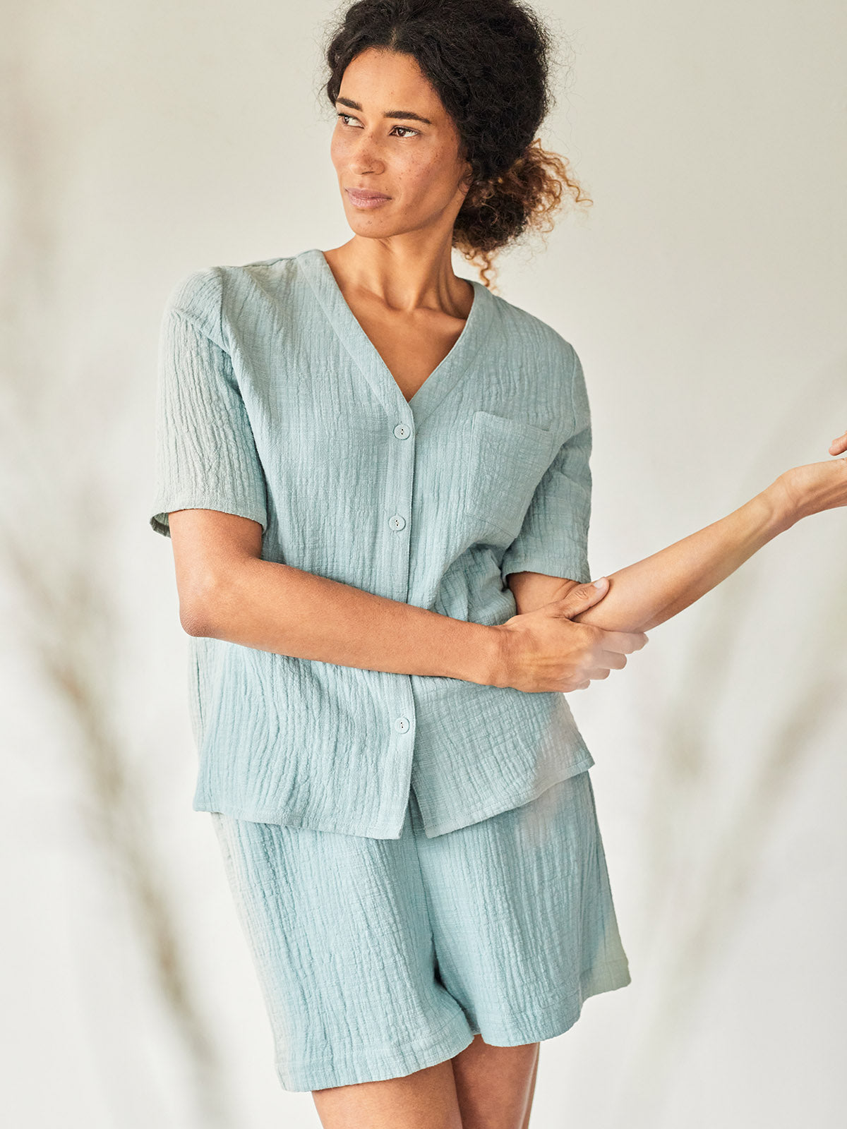 Thought Stella Crinkle Organic Cotton Woven Pyjama Set