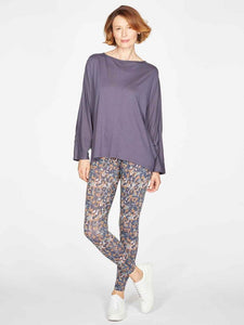 Thought Elizabeth Jersey Woven Top - Mid Blue