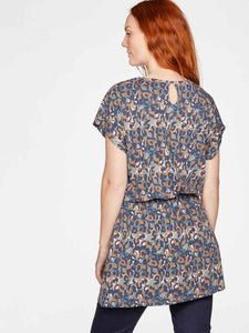 Thought Madelyn Printed Jersey Tunic - Mid Blue