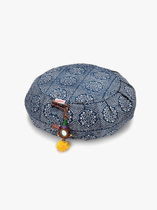 Chattra Zafu Meditation Cushion - Navy Bandhani