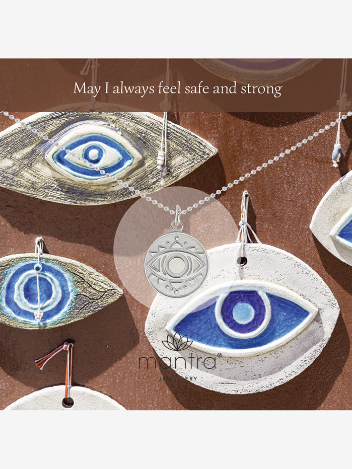 Mantra Jewellery Evil Eye Disc Necklace