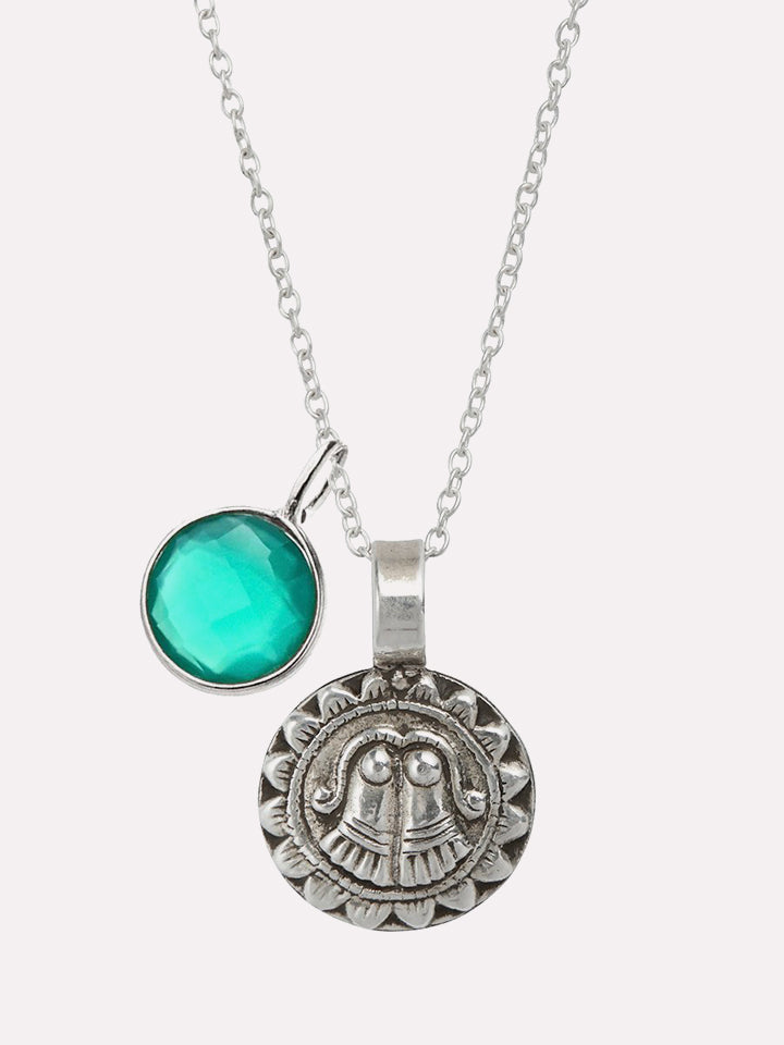 Goddess of Protection Pendant Necklace with Green Onyx Power Stone - Silver