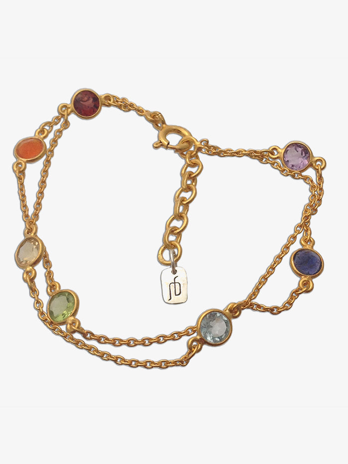 Shanti Boutique Gold Plated Wellbeing Chakra Bracelet