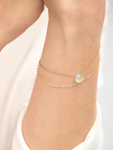 Wanderlust Gold & Silk Sea Glass Chalcedony Bracelet
