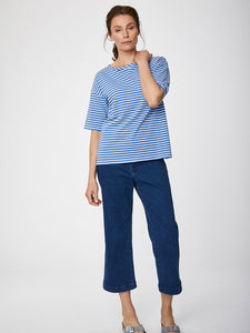 Thought Simonia Hemp Striped Tee - Marina Blue