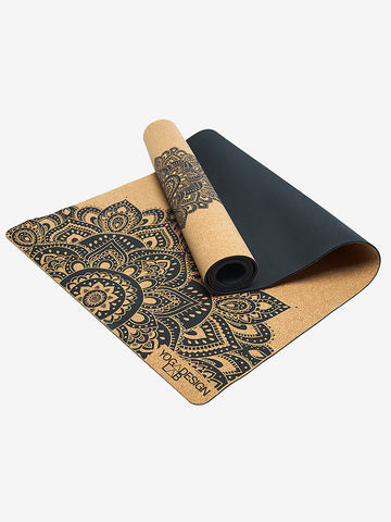 Yoga Design Lab Cork Mat - Mandala Black