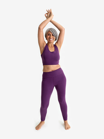 Yogamatters Eco High Waisted 7/8 Yoga Leggings  - Purple